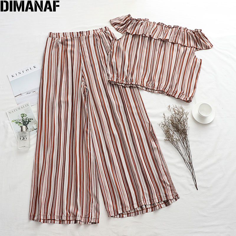 DIMANAF Plus Size Women Sets Suits Summer Sexy Lady Tops Long Pants Loose Casual Ruffles Print Striped 2020 Holiday Beach Style