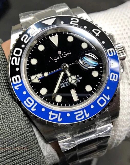 Famous Brand New Men Automatic Mechanical Watch Red Black Blue Ceramic Bezel GMT Master II Stainless Steel Sapphire Luminous