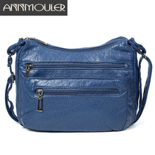 Annmouler 여자를위한 패션 여성 숄더 가방 소프트 Crossbody 가방 블루 멀티 포켓 메신저 가방 Pu 가죽 핸드백 지갑