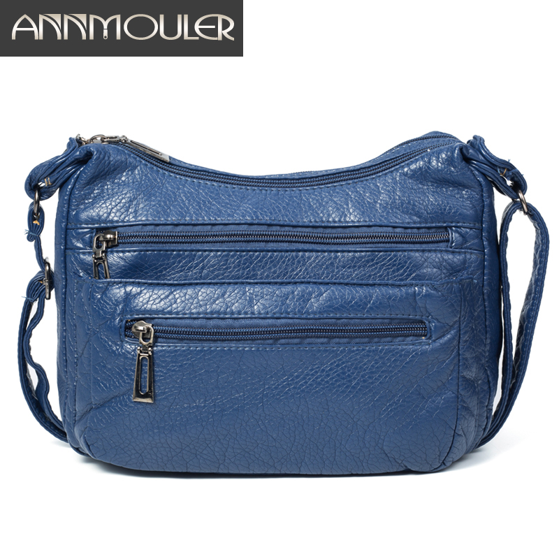 Annmouler Fashion Women Shoulder Bag Soft Crossbody Bag For Girls Blue Multi-pockets Messenger Bag Pu Leather Handbag Purse