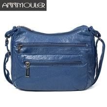 Annmouler Fashion Women Shoulder Bag Soft Crossbody Bag for Girls Blue Multi pockets Messenger Bag Pu Leather Handbag Purse