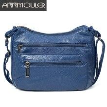 Annmouler moda kadın omuzdan askili çanta yumuşak Crossbody çanta kızlar için mavi çok cepler askılı çanta Pu deri çanta çanta