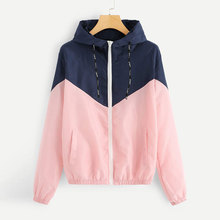 купить Hooded Patchwork Thin Jackets Women Casual Zipper Loose Cardigans Jackets Coats Female Fashion Spring Autumn Coats Streetwear дешево