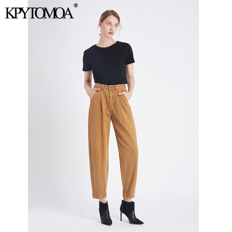 Vintage Stylish High Waist Harem Pants Washed Effect Jeans Women 2020 Fashion Pockets Zipper Fly With Darts Ankle Trousers Jean