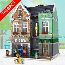 New City Series Toys Bicycle shop Compatible Lepinzk City 11104 Building Blocks Toys for Children Birthday Christmas Gift 2020 new city police station bela compatible lepining city 60141 60047 60140 building blocks toys for children birthday gift