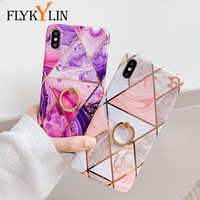 FLYKYLIN Ring Stand Case For Xiaomi Redmi Note 8 Pro Back Cover Plating Marble Silicone Phone Coque For Redmi Note 8 8Pro Shell