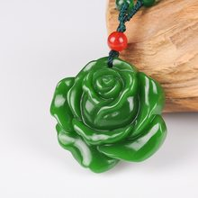 Natural Green Chinese Rose Jade Pendant Necklace Hand-carved Charm Jewellery Fashion Man Lucky Amulet Gifts Free rope P78(China)