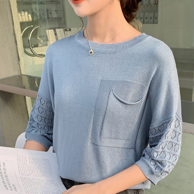 2020 New Arrival Aslea Rovie Regular O-neck Batwing Sleeve Pockets Office Lady Half Patchwork None China (mainland) Thin Ages 18