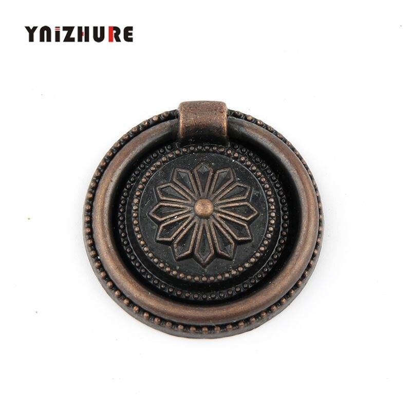 YINZHURE 2pcs 30mm Ring Style Single Hole Antique Bronze Knob Zinc Alloy Furniture CabinetHandle Drawer Pull