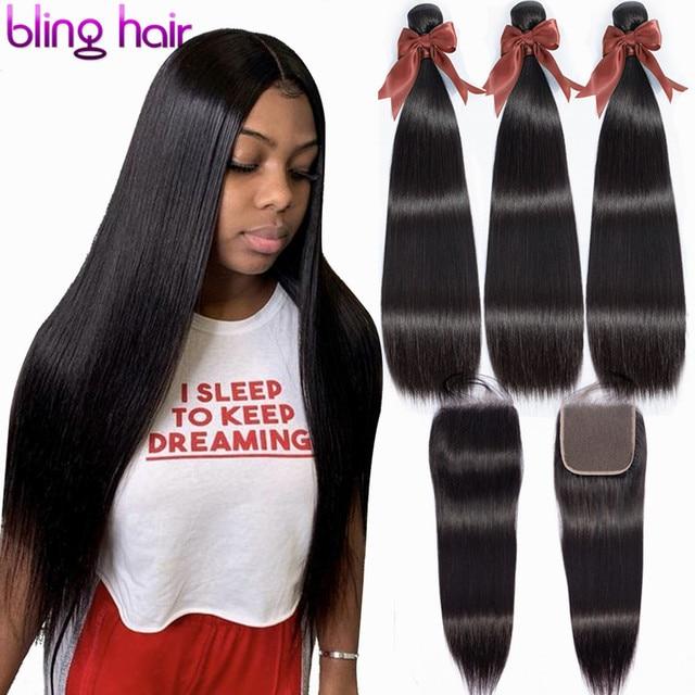 Bling mechones de pelo liso con cierre 100% cabello humano, 3 mechones con cierre, extensiones de pelo Remy peruano, Color Natural