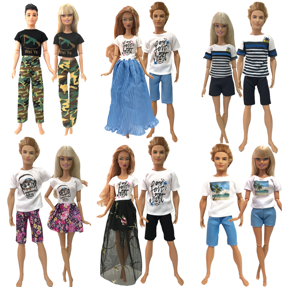 NK 2 Pcs /Set Daily Casual Couple Dress For Barbie Doll Accessories Best Boy Girl Couple Birthday Gift Toy For Ken Doll 001A JJ image