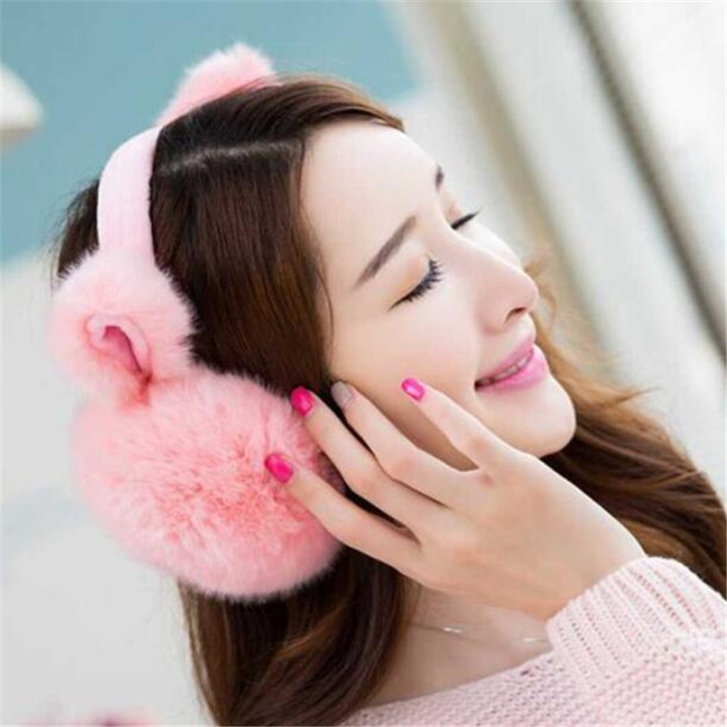 VIIANLES Winter Faux Fur Earmuffs Headband Newest Fashion Women Girl Fur Winter Ear Warmer Earmuffs Cute Cat Ear Muffs Earlap