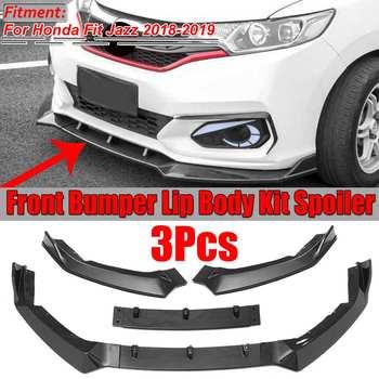 2018-2019 Carbon Fiber Look / Black Car Front Bumper Splitter Lip Body Kit Spoiler Diffuser Guard For Honda For Fit For Jazz