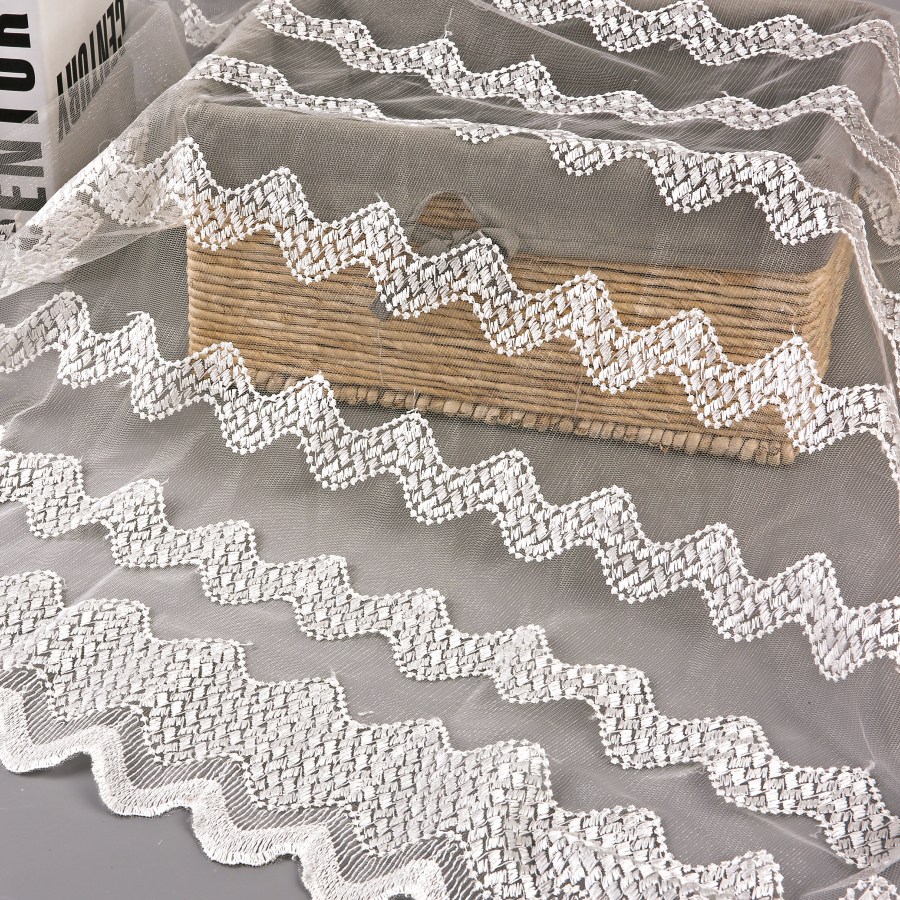 A Pack Of 5 Yards:Lace Mesh Embroidery Fabric Dress Decoration Embroidery Fabric Simple Flower Computer Embroidery