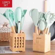 11/12/13 pçs conjunto de utensílios de cozinha de silicone antiaderente conjunto com colher espátula acessórios de cozimento conjunto de ferramentas de cozinha