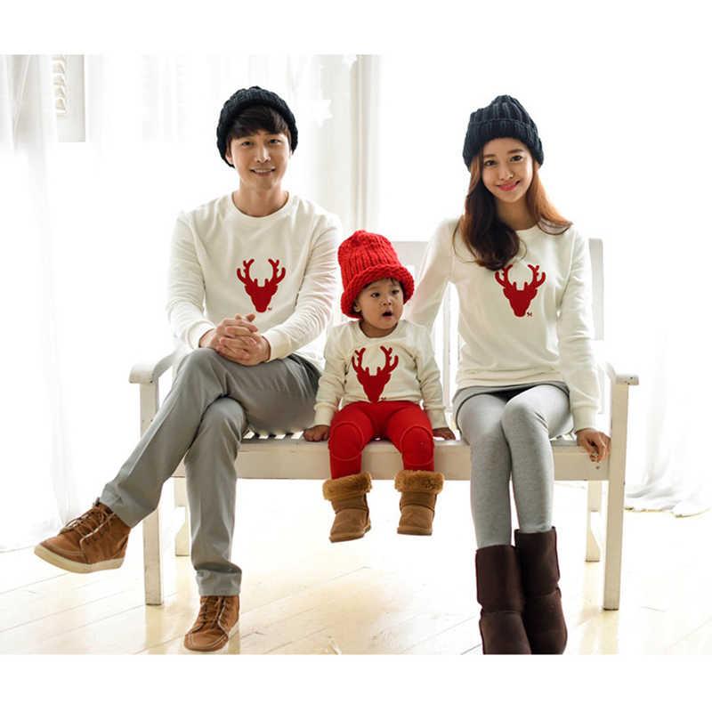 คริสต์มาสเสื้อยืดแม่ Mommy และ Me ลูกสาวลูกชายพ่อเด็กเสื้อผ้าเด็ก Matching ชุดครอบครัวเสื้อผ้าครอบครัวดู