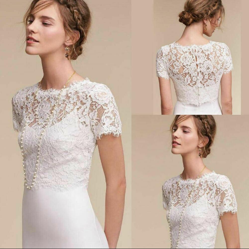 Bridal Bolero Wedding Jacket Lace short Sleeve 36,38,40,42,44 White Ivory Stole
