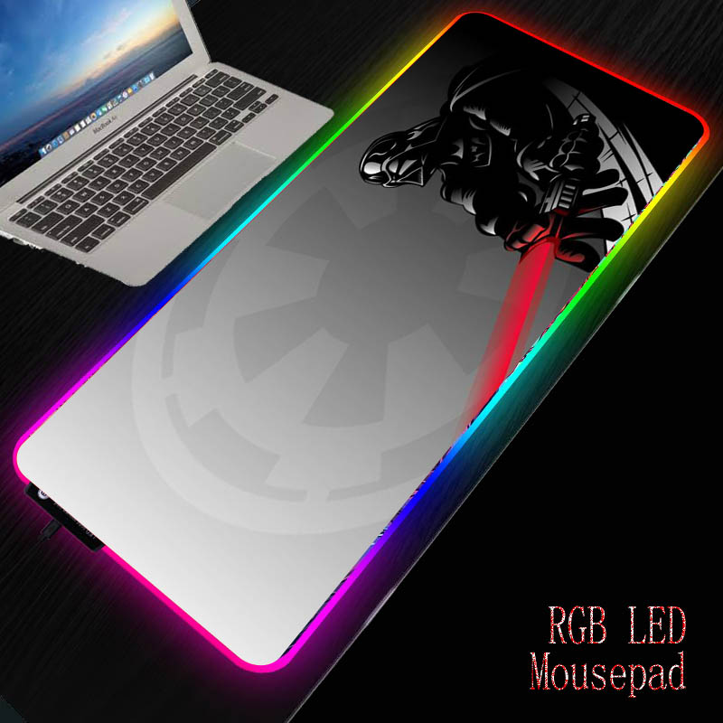 MRGBEST Star Wars Mouse Pad Large RGB LED Mouse Mat Big Desk Mat Non-Slip Rubber Base Mousepad for Laptop PC Game Waterproof image