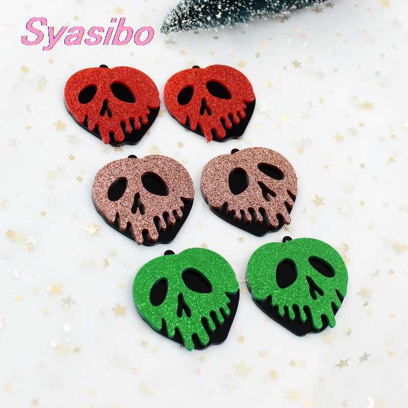 (4pcs)50mm Acrylic Poison Apple Earrings Halloween Party Gift Black Glitter Apple 2inches Snow White 7 Laser Cutout-AC1584