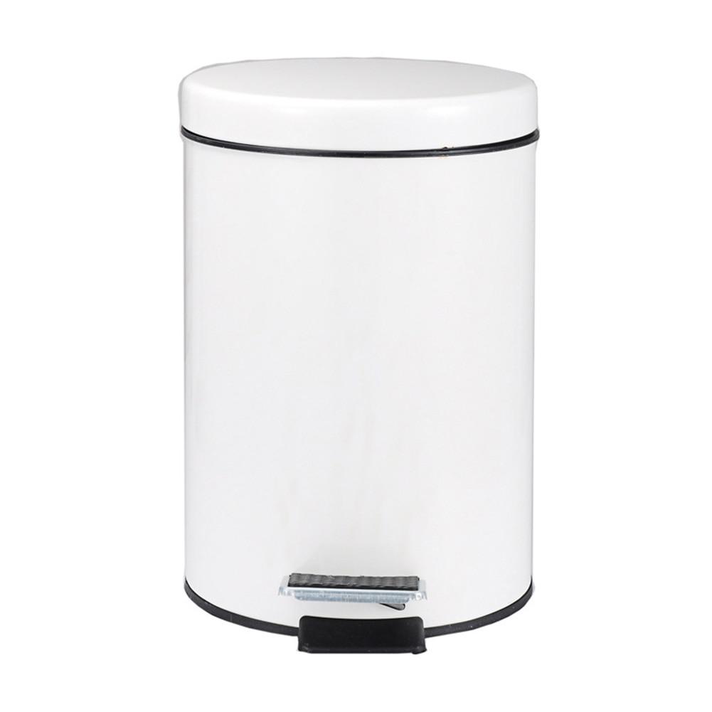 Round Stainless Steel Step Trash Can Wastebasket Garbage Container Bin for Bathroom Bedroom Kitchen JAN88|Waste Bins| |  - title=