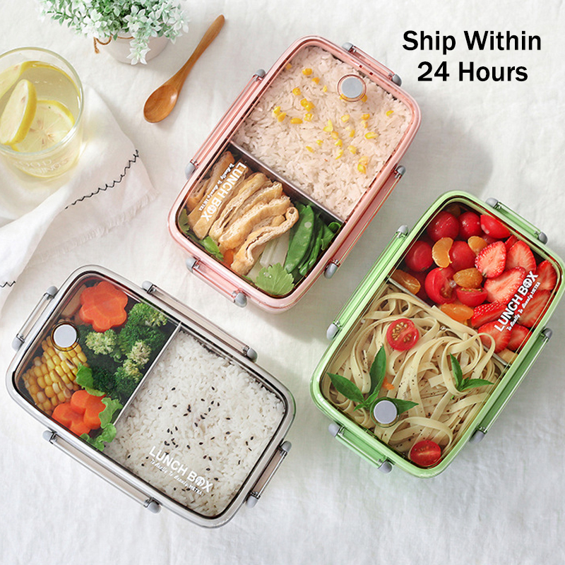 Portable Healthy Material Lunch Box Independent Lattice For Kids Bento Box Microwave Dinnerware Food Storage Container Foodbox-in Lunch Boxes from Home & Garden