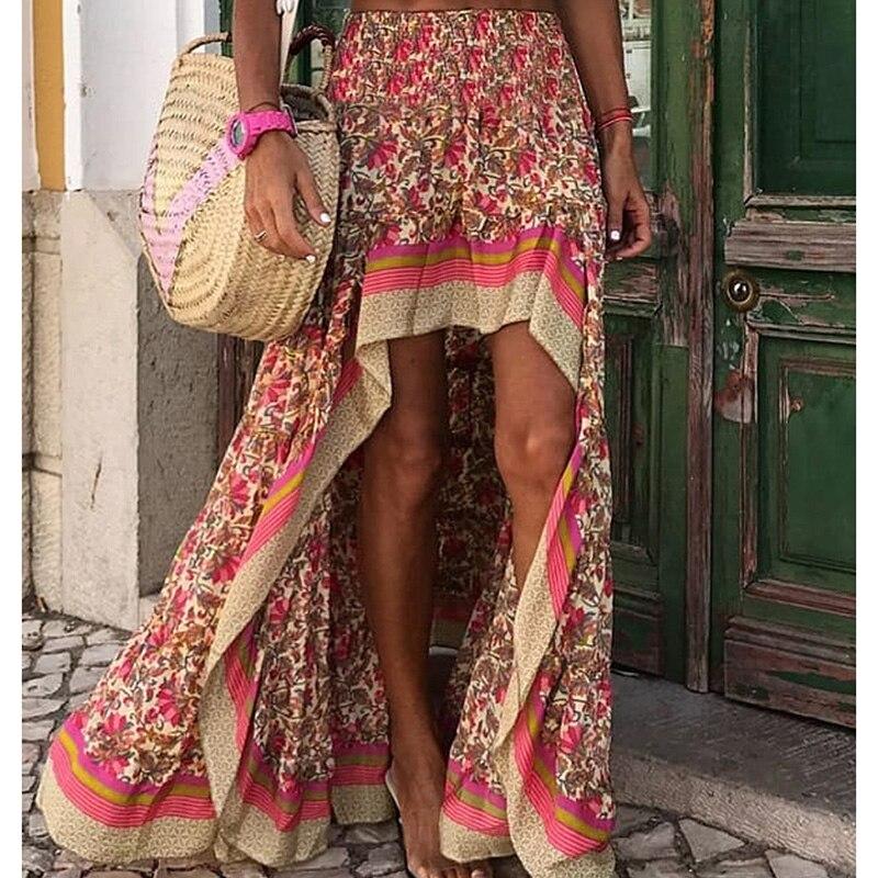 SWQZVT Fashion Women Floral Print Irregular Long Skirt 2020 Summer Beach Skirts High Waist Party Women Skirt Clothing