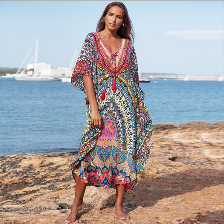 New Style Spandex Quick-Drying Fabric Ethnic-Style Printed Beach Skirt Holiday Long Skirts Bikini Outer Blouse Women's