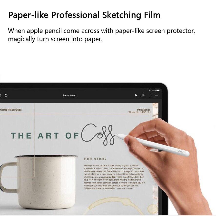 Бумажная Защитная пленка для экрана, матовая, ПЭТ, с антибликовым покрытием, для iPad 9,7, новинка 10,2, Air Pro 10,5, Face ID 11, 12,9 дюйма
