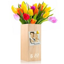 RASABOX - Wooden Alarm Clock, Magnetic Wood Clock Voice Control Electric Smart LED Travel Digital Desk Modern Vase