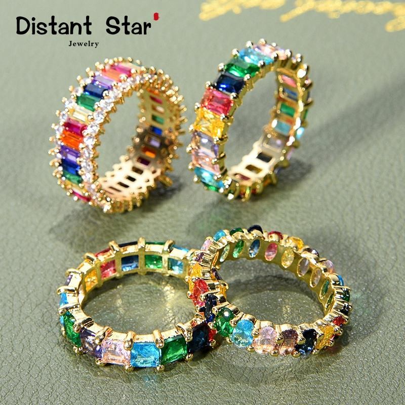 CZ Gold Crown rainbow Rings Geometry wedding Engagement Ring femme Women for ring party gift charm Rhinestone ins Jewelry