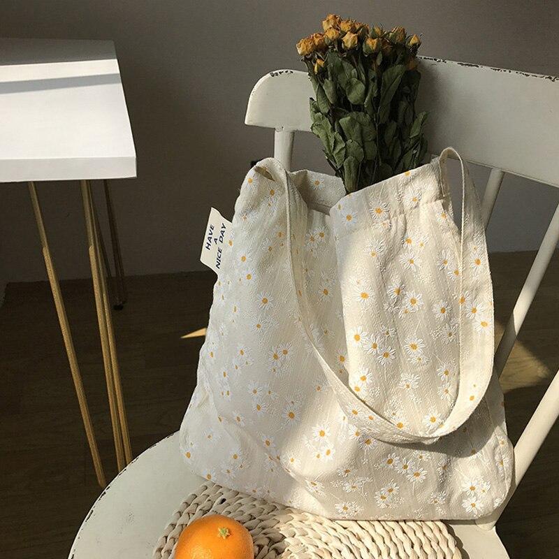 Женские холщовые сумки через плечо с тиснением и ромашками, Женская Цветочная сумка, Повседневная сумка для книг, сумка для покупок для девочек|Сумки с ручками|   | АлиЭкспресс