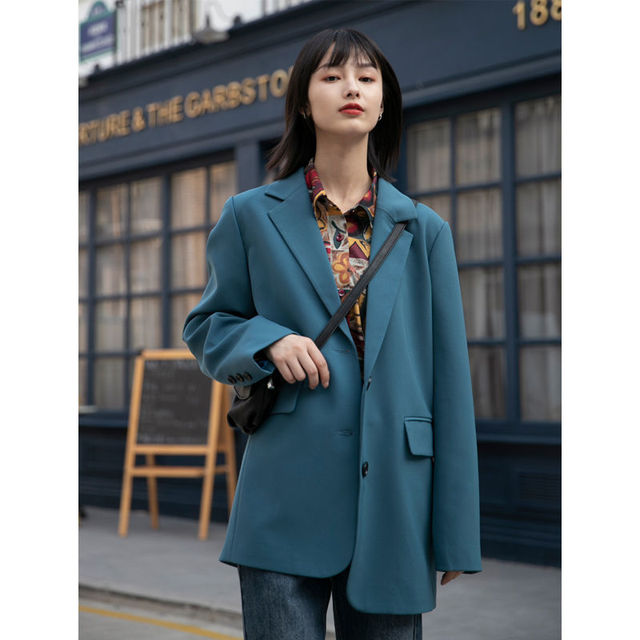 New Autumn Suit Jacket Female Spring And Blue Double-breasted Casual Temperament Ins Slim Black Suits Coats 2