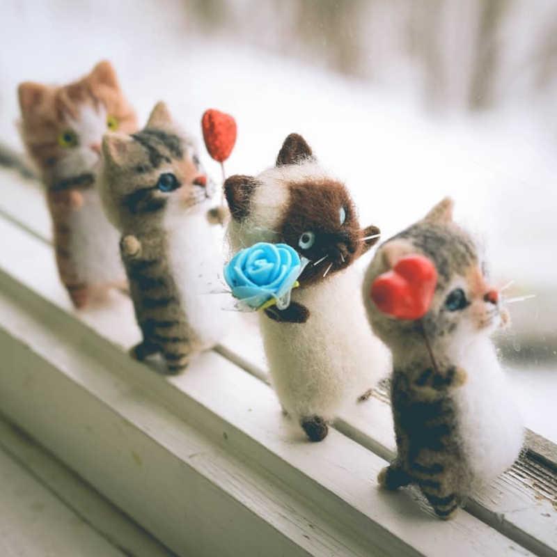 Mignon et intéressant jouets faits à la main bricolage laine feutre chat kits inachevé en peluche poupée poking musique jouet cadeau