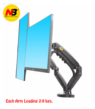 "2020 New NB F160 Gas Spring 360 Degree Desktop 17"" 27"" Dual Monitor Holder Arm Full Motion Monitor Mount Bracket Load 2 9kg each"