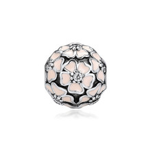 Genuine 925 Sterling-Silver-Jewelry pandulaso Beads for Bracelets Poetic Blooms Clip Charm Silver Jewelry Making CL013