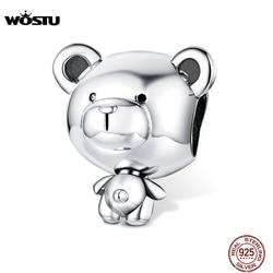 WOSTU Hot Sale Bear Charms 100% 925 Sterling Silver Dumb Little Bear Beads fit Charm Bracelets DIY Jewelry Making CQC1502