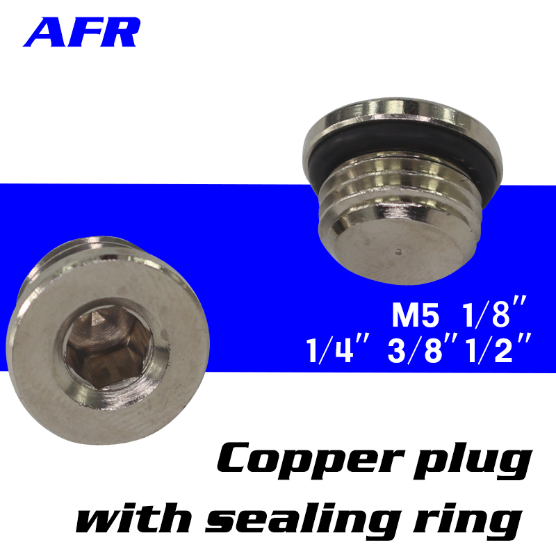 100Pcs M5 1/8 1/4 3/8 1/2 3/4  copper inner hexagonal plug with sealing ring End Cap For Pneumatic Manifold