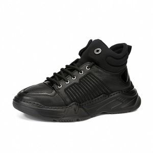 Image 5 - หนังแท้ 100% High Top รองเท้าผู้ชายยี่ห้อแพลตฟอร์มความสูงเพิ่มรองเท้าบู๊ทข้อเท้า Street ปัก Hip Hop สบายๆรองเท้าสีดำ