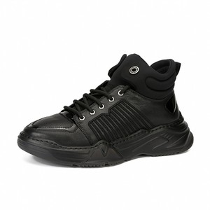 Image 5 - 100% Real Leather High Top Shoes Men Brand Platform Height Increasing Ankle Boots Street Lace Up Hip Hop Casual Black Shoes