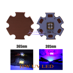 XML T6 5050 10W 365nm 395nm 4 Chip UV LED Purple light with 20mm Copper plate PCB For UV curing Medical treatment and health