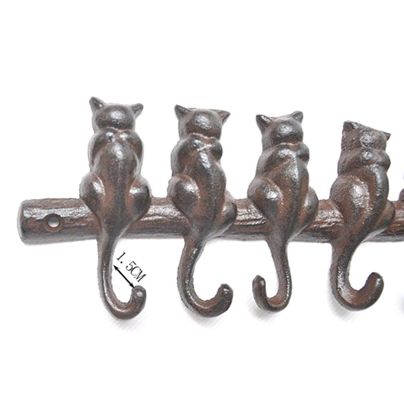 Rustic 7 Cats Iron Key Rack with 7 Hooks Hanging Coat Hat Bag Home Porch Decor 72XF thumbnail
