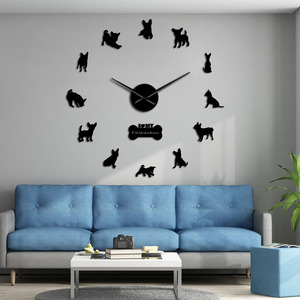 Mexico Dog Breed Chihuahua DIY 3D Acrylic Wall Clock With Big Clock Hands Mirror Effect Numbers Sticker Dog Pet Giant Wall Watch(China)