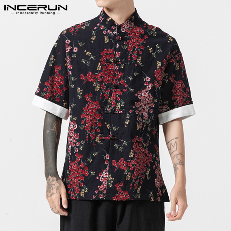 INCERUN Chinese Style Men Shirt Floral Print Short Sleeve Stand Collar Tops Retro Streetwear Casual Brand Shirts Men Camisa 2020