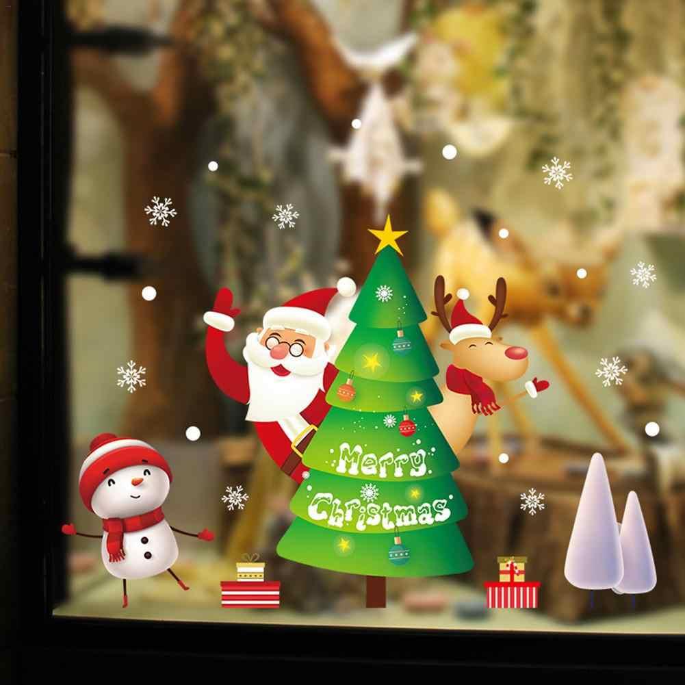 2020 Vrolijk Kerstfeest Muurstickers Vensterglas Muurstickers Kerstman Sneeuw PVC Verwijderbare Muursticker Voor Xmas Thuis Decals