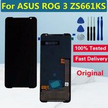 """6.59 """"amoled original para asus rog 3 zs661ks display lcd de toque digitador da tela para asus rog telefone 3 strix substituição da tela lcd"""