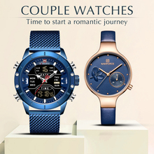 Get more info on the NAVIFORCE 2PCS/Set Couple Wristwatches Men Dual Display Watches Women Genuine Leather Strap Quartz Watch Lady and Man WristWatch