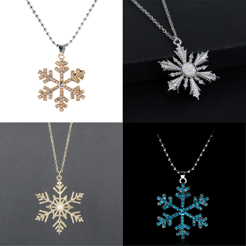 Princess Elsa Anna Snow Queen Flower Crystal Pendant Necklace For Women Girls Snowflake Rhinestone Long Chain Necklace Jewelry