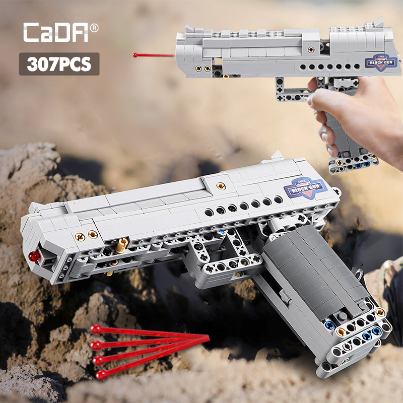 Fit Technic Series Gun Handgun Pistol Can Fire Bullets Set Desert Eagle & M23 DIY Model Building Blocks Toys For Kids Boys Gifts image