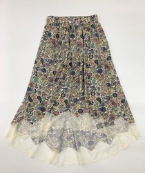 Colorful printed women skirt lace Patchwork Asymmetrical midi skirt 2020 spring summer new