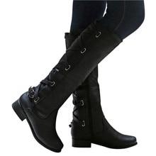 Новые женские сапоги; зимние высокие сапоги до колена с перекрестными ремешками; Теплая обувь в ковбойском стиле; Модные женские кожаные сапоги